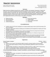 Social Media Marketing Resume Alternative Besides Engine Evaluator Extraordinary Social Media Marketing Resume
