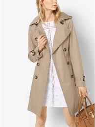 latest women s michael kors hooded trench coat in british khaki on