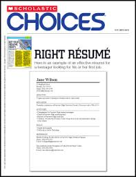 right resume   scholastic choices   scholastic comclick here to   a full color handout for students