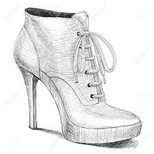 fashion boots drawing. vector drawing of woman fashion high heel shoes boots in ink engraving vintage style stock
