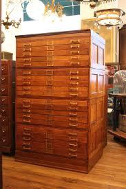 drawer tiger oak map cabinet or flat file with original brass
