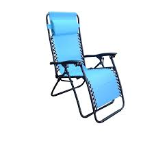 garden treasures steel chaise lounge chair e36 with blue sling
