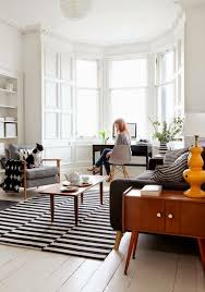 graphic striped rug living room