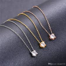 whole fashion trendy stainless steel zirconia square necklace gold silver rose plated single diamond pendant necklace for women gold chain necklace ruby