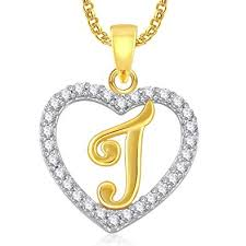 Amaal Jewellery Valentine Gifts Gold American Diamond Heart Alphabet Letter J Necklace Pendant For Women Girls Girlfriend Boys Men With Chain Ps0403