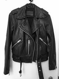 all saints black balfern leather jacket women s size 4