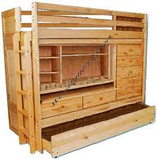 com bunk bed all in 1 loft with trundle desk chest closet paper plans so easy beginners look like experts build your own using this step by step