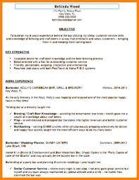 Bartender Example Resume Objective For Bartending Sample A Of Yo