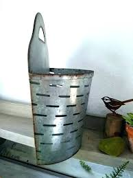 galvanized wall planter pocket planters large metal olive round plant galvanized wall planter