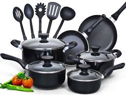 piece kitchen utensils set silicone cooking tools  cook n home  piece non stick black soft handle cookware set