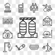 Set Of 13 Transparent Editable Icons Such As Silos Unbalanced