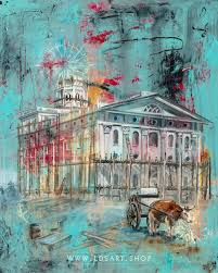 nauvoo temple being built fine art cold wax painting