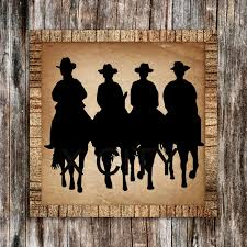 western american cowboys riding horses silhouette retro wall art sticker vinyl decal die cut room stencil on horse silhouette wall art with western american cowboys riding horses silhouette retro wall art