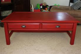 red painted coffee table image and description