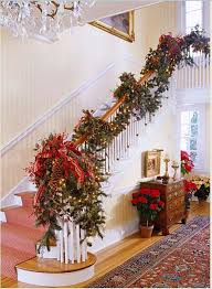 Banister Decorated with Garland and Pinecones for Christmas