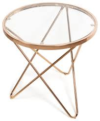 danya b tetra clear glasstop round end table with gold metal frame