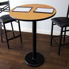 lancaster table and seating bar height table with 30 round reversible walnut oak table top and