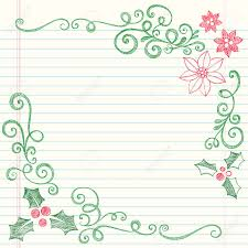 hand drawn holly leaves sketchy notebook doodles border with poinsettias and swirls ilration