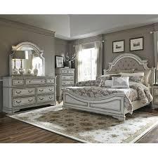 Magnolia Manor Antique White Upholstered King Bedroom Set