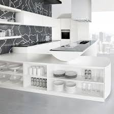 White Kitchen With Black Mosaic Wall Tiles, White Shelving Units, Floating  Island Unit And