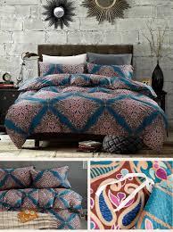 damask medallion luxury duvet quilt cover boho paisley print bedding set 400 thread count egyptian cotton sateen vibrant bohemian pattern eikei