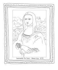 Mona Lisa Coloring Page Printable K5 Worksheets