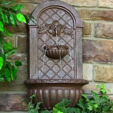 shining ideas outdoor wall fountain sunnydaze venetian solar multiple colors available fountains clearance