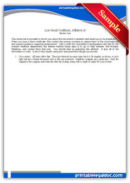 Free Printable Lost Stock Certificate Legal Forms Free Legal
