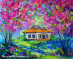 cherry blossoms oil on canvas landscapes handmade livemaster handmade the picture with sakura mai cherry landscapes handmade