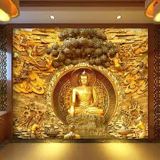 golden buddha buddhist temple mural custom large living room pertaining to 3d buddha wall art  on buddha wall art metal with 20 best ideas 3d buddha wall art wall art ideas