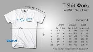 Asian T Shirt Measurement Chart Standard Cut Asian Sizes Premuim Cotton Tshirtworkz Hong