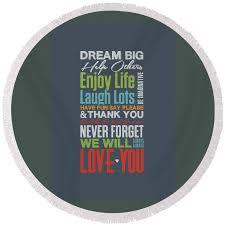 Dream Big Inspirational Quotes Best of Dream Big Inspirational Motivational Quotes Poster Round Beach Towel