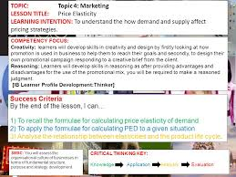 topic topic marketing lesson title price elasticity learning  1 topic topic