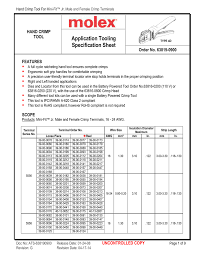 Application Tooling Specification Sheet Hand Crimp