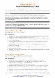 Dispatcher Resume Samples Customer Service Dispatcher Resume Samples Qwikresume