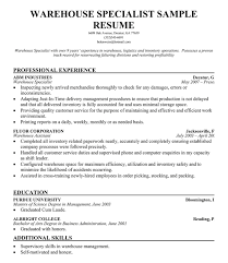 Warehouse Resume Template New Warehouse Resume Template musiccityspiritsandcocktail