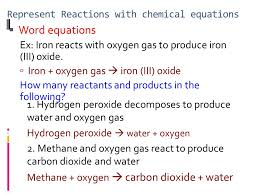 represent reactions with chemical equations word equations ex iron reacts with oxygen gas to