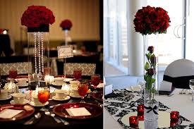 decoration for table. Wedding Decoration Ideas: Red, White And Black Table Centerpieces For