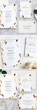 Feathery Strokes Modern Wedding Invitation Invitation Suite
