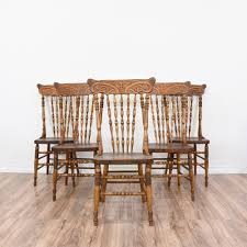 Set Of 5 Antique Carved Spindle Back Dining Chairs Loveseat