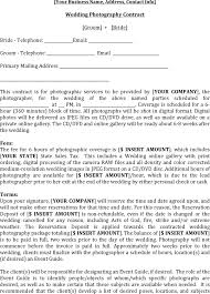 Photography Contract Template Template Free Download Speedy Template