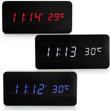 new modern digital black alarm desk clock thermometer led display