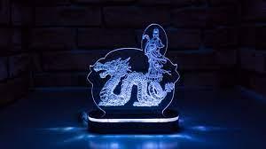 Đèn Led 3D Mô Hình Phật Quan Âm Cưỡi Rồng - Đèn trang trí Hãng OEM