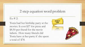 2 step equation word problems talkchannels