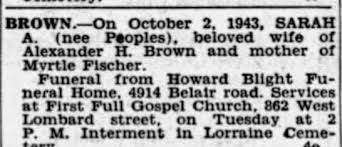 Obituary for SARAH A. BROWN - Newspapers.com
