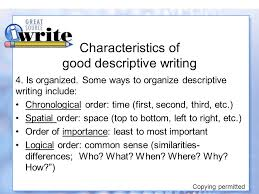 "descriptive writing ""show"" me all about it copying permitted  characteristics of good descriptive writing"