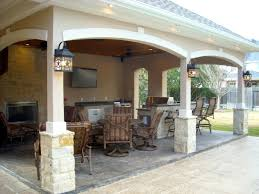 Outdoor Kitchen Fireplace Pool House With Outdoor Kitchen Fireplace In Cypress Texas