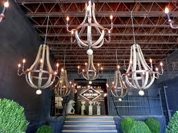 image of wooden wine barrel chandeliers design