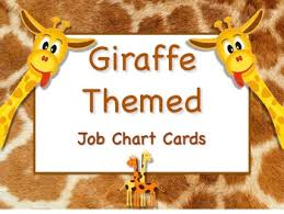 Giraffe Chart Giraffe Job Chart Cards Signs Great For Classroom Management Adorable