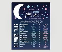 Gender Reveal Wives Tales Poster Twinkle Twinkle Little Star Gender Reveal Party Diy Printable Or Printed Copy 00124 Owt